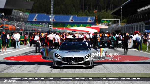 End Racism branding is seen in front of the safety car on the grid before the Formula One Grand Prix of Austria at Red Bull Ring on July 05, 2020 in...