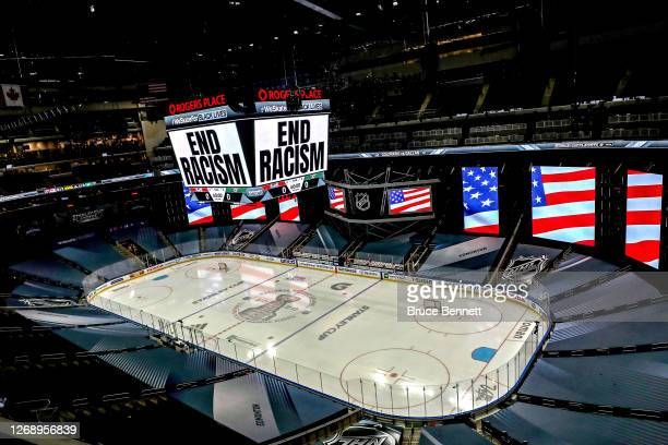 """End Racism"""" is displayed on the scoreboard in light of the recent events in Kenosha, Wisconsin, in regards to the shooting of Jacob Blake, prior to..."""