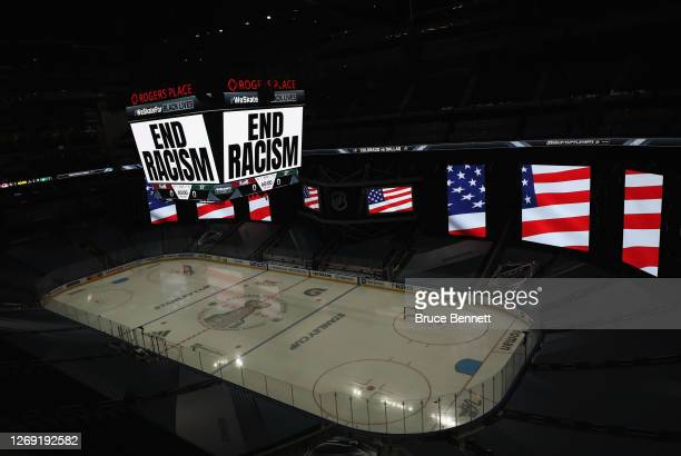 "End Racism"" is displayed on the scoreboard in light of the recent events in Kenosha, Wisconsin, in regards to the shooting of Jacob Blake, prior to..."