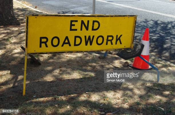 End Roadworks sign on the side of a road