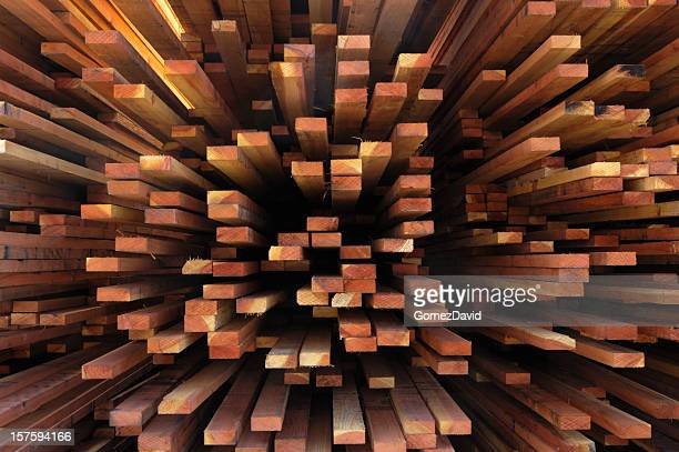 End View of a Stack of Just Milled Redwood Lumber