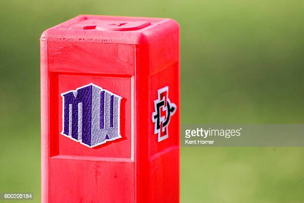 End zone markers with logos of the Mountain West and of the San Diego State Aztecs used during the game against the New Hampshire Wildcats at...