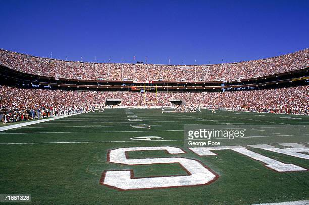 End zone view of the field at Sun Devil Stadium home of the Phoenix Cardinals as they host the Washington Redskins on September 25 1988 in Tempe...
