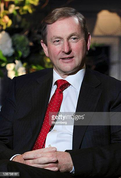 Enda Kenny, Ireland's prime minister, pauses during a Bloomberg via Getty Images Television interview at the Global Irish Economic Forum at Dublin...