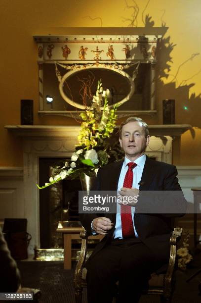 Enda Kenny, Ireland's prime minister, prepares for a Bloomberg via Getty Images Television interview at the Global Irish Economic Forum at Dublin...