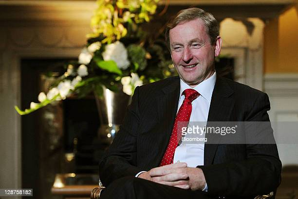 Enda Kenny, Ireland's prime minister, reacts during a Bloomberg via Getty Images Television interview at the Global Irish Economic Forum at Dublin...