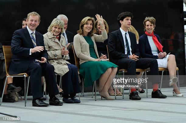 Enda Kenny Jean Kennedy Smith Caroline Kennedy Jack Schlossberg and Kathleen Kennedy Townsend attend a ceremony to commemorate the 50th anniversary...