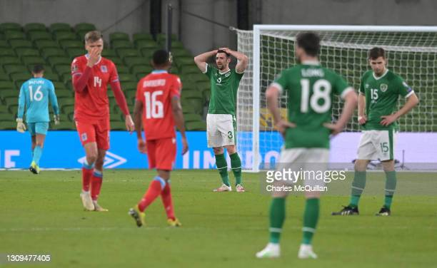 Enda Stevens of Republic of Ireland looks dejected during the FIFA World Cup 2022 Qatar qualifying match between Republic of Ireland and Luxembourg...