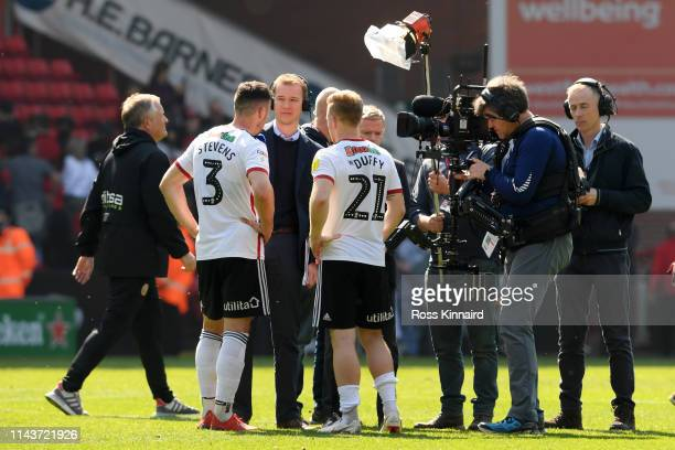 Enda Stevens of Sheffield United and Mark Duffy of Sheffield United are interviewed following their side's victory in the Sky Bet Championship match...