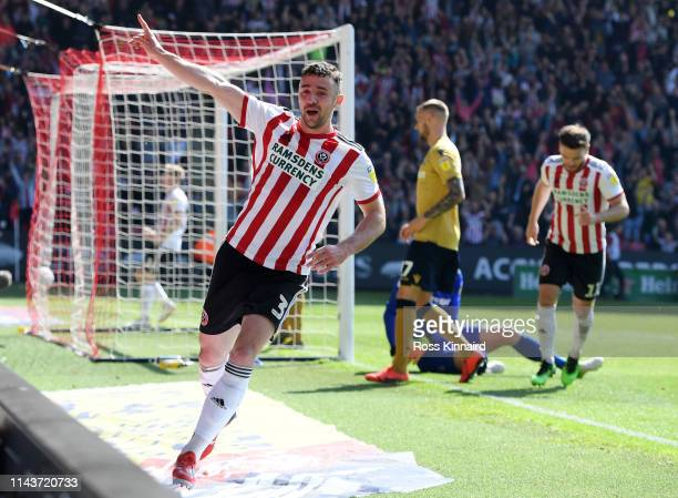 Enda Stevens of Sheffield United celebrates after scoring his team's second goal during the Sky Bet Championship match between Sheffield United and...