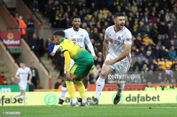 Enda Stevens of Sheffield United celebrates after scoring his team's first goal during the Premier League match between Norwich City and Sheffield...
