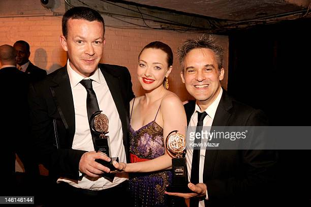 Enda Walsh actress Amanda Seyfried and Martin Lowe attend the 66th Annual Tony Awards at The Beacon Theatre on June 10 2012 in New York City