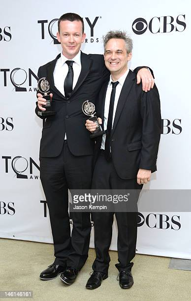 Enda Walsh and Martin Lowe pose in the 66th Annual Tony Awards press room at The Beacon Theatre on June 10 2012 in New York City