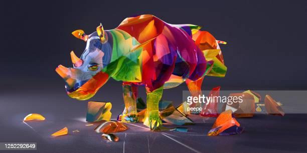 Endangered Species Rhino Multi-Coloured Precious Gemstones Fractured and Breaking