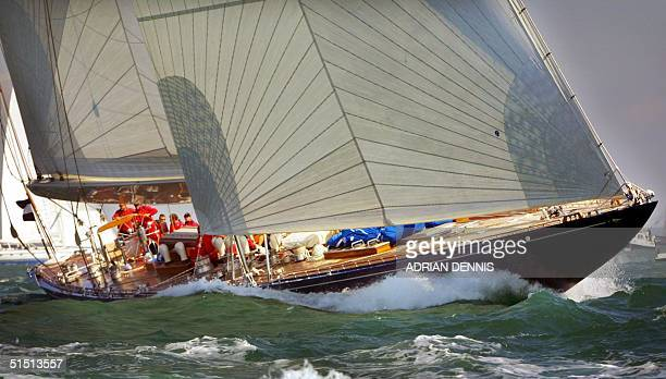 Endeavour a 1934 JClass yacht racing during The America's Cup Anniversary Jubilee around The Isle of Wight 21 August 2001 The four entries in the...