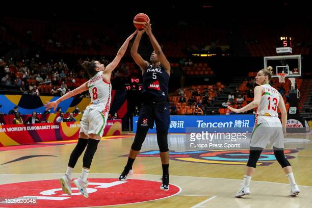 Endene Miyem of France in action during the Women's EuroBasket 2021 semifinal 1 match played between Belarus and France at Fuente de Sant Luis...