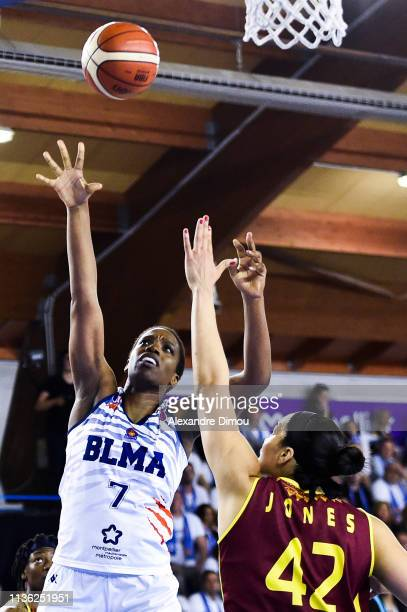 Endene Myem of Montpellier and Brionna Jones of Orenburg during the Final Women EuroCup match between Montpellier Lattes and Nadezhda Orenburg on...