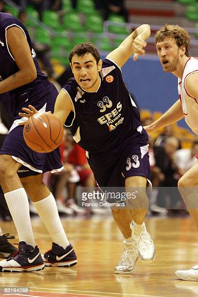 Ender Arslan of Efes Pilsen Istanbul in action during the Euroleague Basketball game 9 between Armani Jeans Milano v Efes Pilsen Istanbul at the...