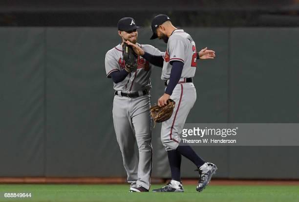 Ender Inciarte and Nick Markakis of the Atlanta Braves celebrates defeating the San Francisco Giants 20 at ATT Park on May 26 2017 in San Francisco...