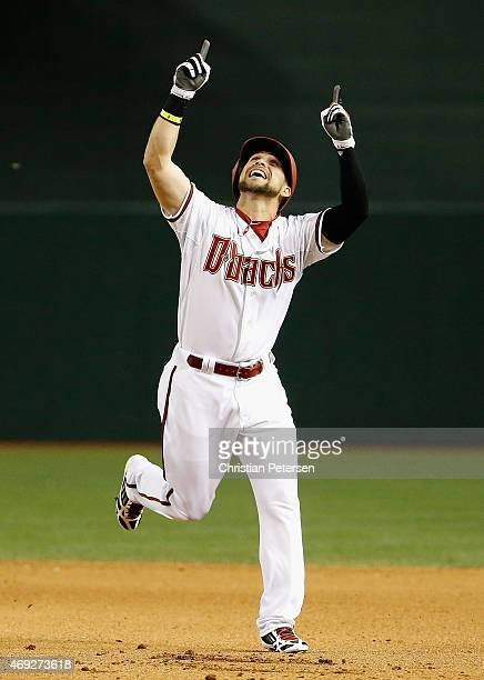 Ender Inciarte of the Arizona Diamondbacks celebrates after hitting a walk off RBI single against the Los Angeles Dodgers during the 10th inning of...