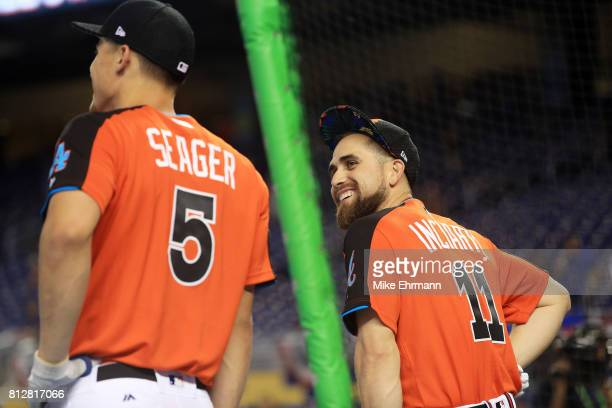 Ender Inciarte of the Atlanta Braves and the National League reacts during batting practice for the 88th MLB AllStar Game at Marlins Park on July 11...