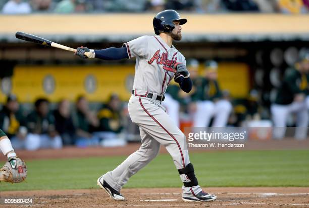 Ender Inciarte of the Atlanta Braves bats against the Oakland Athletics in the top of the third inning at Oakland Alameda Coliseum on June 30 2017 in...