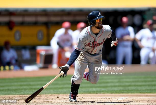 Ender Inciarte of the Atlanta Braves bats against the Oakland Athletics in the top of the second inning at Oakland Alameda Coliseum on July 2 2017 in...