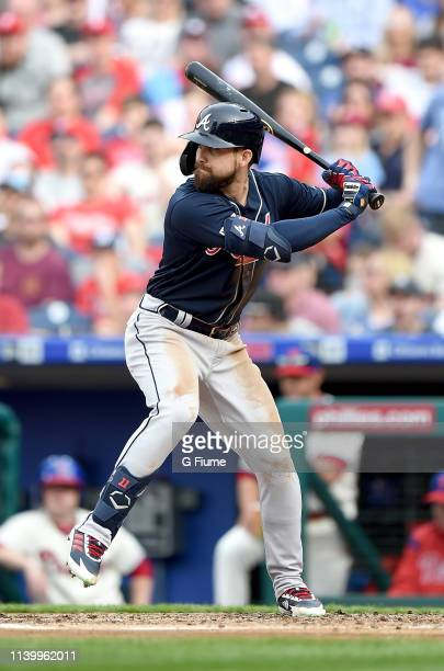 Ender Inciarte of the Atlanta Braves bats against the Philadelphia Phillies at Citizens Bank Park on March 30, 2019 in Philadelphia, Pennsylvania.
