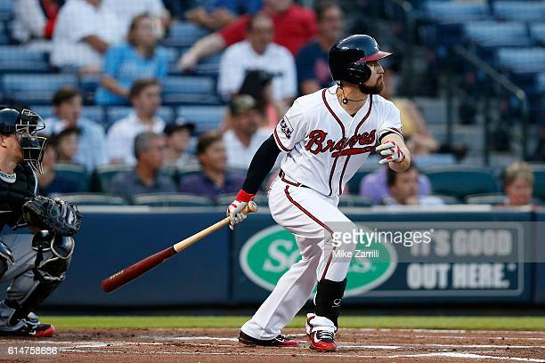 Ender Inciarte of the Atlanta Braves bats during the game against the Miami Marlins at Turner Field on September 13 2016 in Atlanta Georgia
