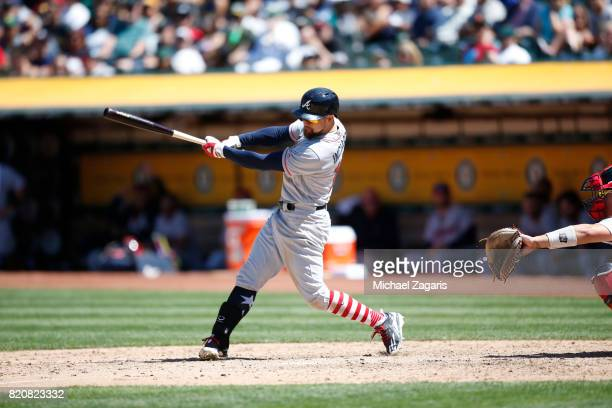 Ender Inciarte of the Atlanta Braves bats during the game against the Oakland Athletics at the Oakland Alameda Coliseum on July 2 2017 in Oakland...