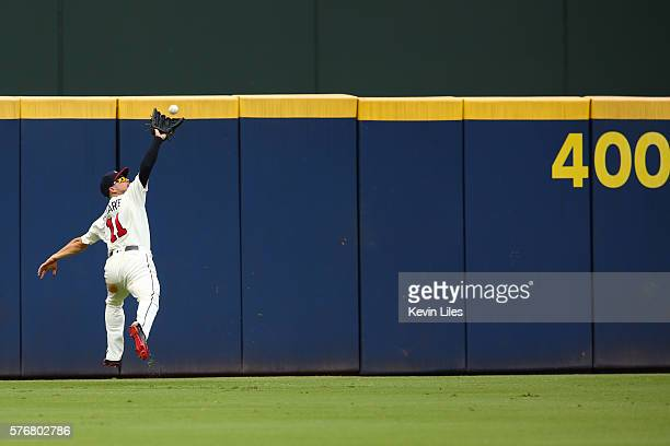 Ender Inciarte of the Atlanta Braves catches a ball hit by Daniel Descalso of the Colorado Rockies during the fifth inning at Turner Field on July 17...