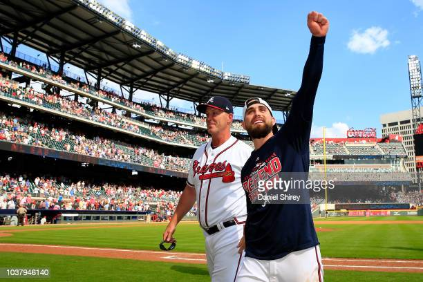 Ender Inciarte of the Atlanta Braves celebrates after clinching the NL East Division against the Philadelphia Phillies at SunTrust Park on September...