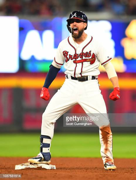 Ender Inciarte of the Atlanta Braves celebrates after knocking in a run with a seventh inning double against the Philadelphia Phillies at SunTrust...