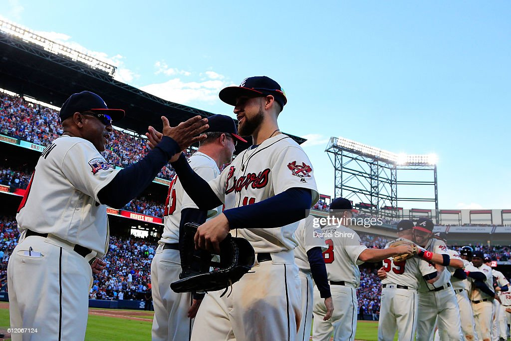 Ender Inciarte #11 of the Atlanta Braves celebrates beating the Detroit Tigers at Turner Field on October 2, 2016 in Atlanta, Georgia.