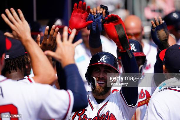 Ender Inciarte of the Atlanta Braves celebrates scoring during the second inning against the Philadelphia Phillies at SunTrust Park on September 22...