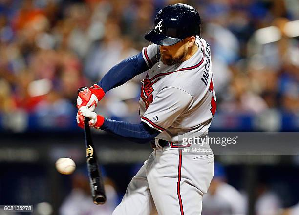 Ender Inciarte of the Atlanta Braves connects on a second inning RBI base hit against the New York Mets at Citi Field on September 19 2016 in the...