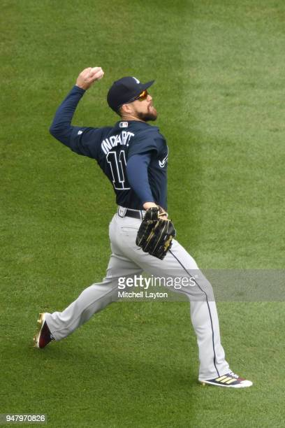 Ender Inciarte of the Atlanta Braves fields a hit ball during a baseball game against the Washington Nationals at Nationals Park on April 11 2018 in...