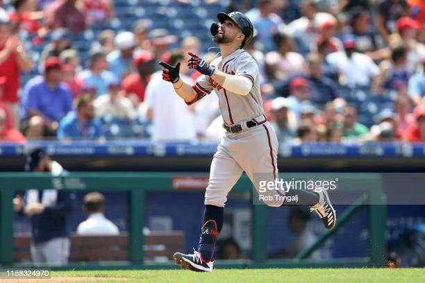 Ender Inciarte of the Atlanta Braves hits a home run against the Philadelphia Phillies at Citizens Bank Park on Sunday, July 28, 2019 in...