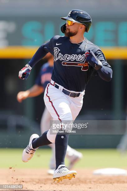 Ender Inciarte of the Atlanta Braves in action against the Houston Astros during a Grapefruit League spring training game at CoolToday Park on March...