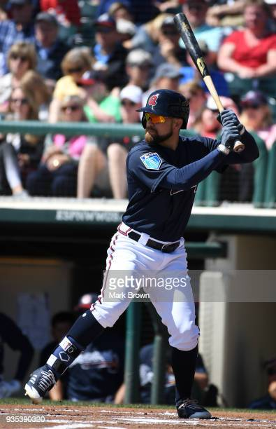 Ender Inciarte of the Atlanta Braves in action during the spring training game between the Atlanta Braves and the Toronto Blue Jays at Champion...