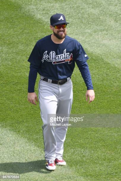 Ender Inciarte of the Atlanta Braves looks on before a baseball game against the Washington Nationals at Nationals Park on April 11 2018 in...