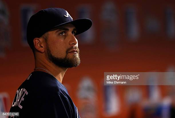 Ender Inciarte of the Atlanta Braves looks on during a game against the Miami Marlins at Marlins Park on June 21 2016 in Miami Florida