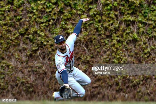 Ender Inciarte of the Atlanta Braves makes a catch on Javier Baez of the Chicago Cubs during the sixth inning while wearing the to commemorate Jackie...