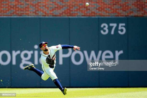Ender Inciarte of the Atlanta Braves makes a diving catch during the eighth inning against the Washington Nationals at SunTrust Park on June 3 2018...