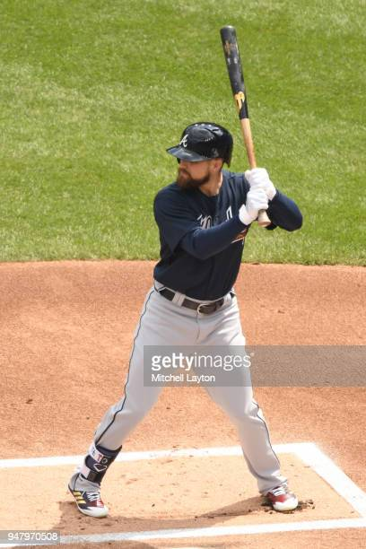 Ender Inciarte of the Atlanta Braves prepares for a pitch during a baseball game against the Washington Nationals at Nationals Park on April 11 2018...