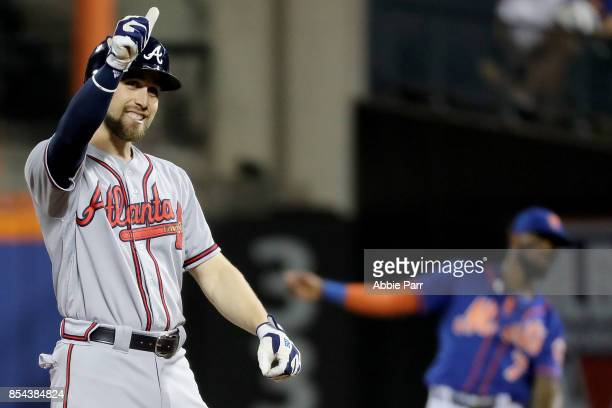 Ender Inciarte of the Atlanta Braves reacts after hitting a lead off double against the New York Mets on September 26 2017 at Citi Field in Flushing...