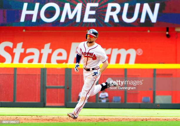 Ender Inciarte of the Atlanta Braves rounds the bases after hitting a seventh inning solo home run against the San Diego Padres at SunTrust Park on...