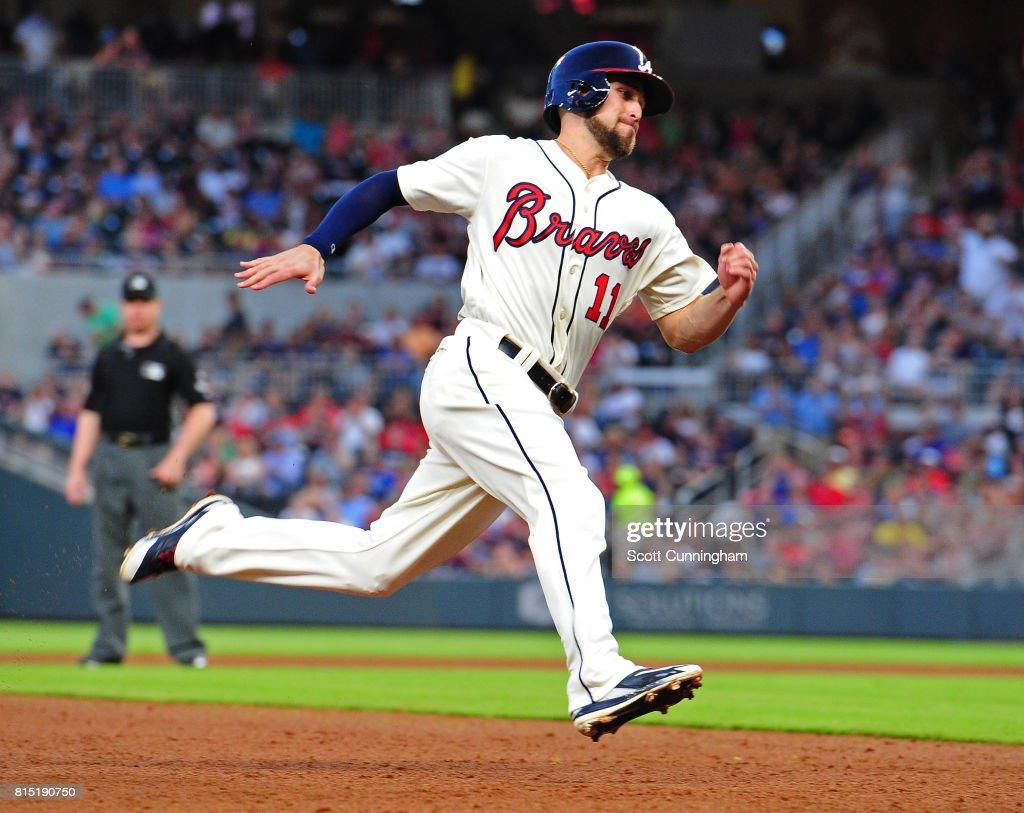 Ender Inciarte #11 of the Atlanta Braves rounds third base to score a fifth inning run against the Arizona Diamondbacks at SunTrust Park on July 15, 2017 in Atlanta, Georgia.