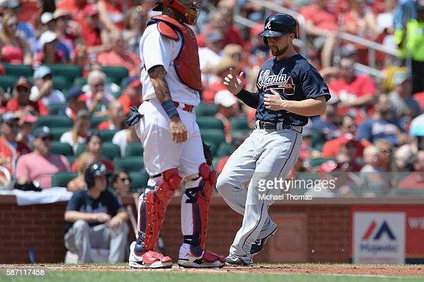 Ender Inciarte of the Atlanta Braves scores in the second inning against the St Louis Cardinals at Busch Stadium on August 7 2016 in St Louis Missouri