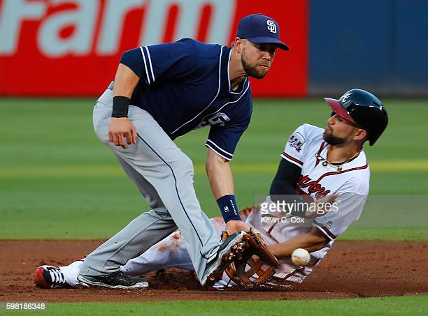 Ender Inciarte of the Atlanta Braves steals second base against Ryan Schimpf of the San Diego Padres in the first inning at Turner Field on August...